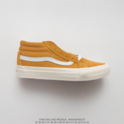 UNISEX, Dongguan Original Sole, Premium FSR Vans Sk8-mid Reissue Mid Duck Casual Skate Board Shoes Vintage Yellow White Style C