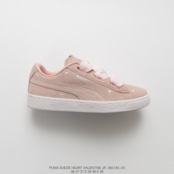 135-03, Womens Beauty Essential PUMA Suede Heart Valentine Jr Classic Broadband Bow All-Match skate shoes love tongue light pin