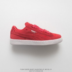 135-02, Womens Beauty Essential PUMA Suede Heart Valentine Jr Classic Broadband Bow All-Match skate shoes love tongue rose re