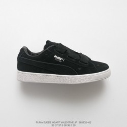 135-02, Womens Beauty Essential PUMA Suede Heart Valentine Jr Classic Broadband Bow All-Match skate shoes love tongue black and