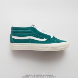 UNISEX, Dongguan Original Sole, Premium FSR Vans Sk8-mid Reissue Mid Duck Casual Skate Board Shoes Leaf Green White Style Code: