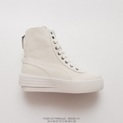 039-01 factory lacing, top-grain Leather The Weekend X Puma XO Parallel Thickened Lacing Up High Zipper Shoe