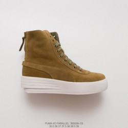 039-03 factory lacing, top-grain Leather The Weekend X Puma XO Parallel Thickened Lacing Up High Zipper Shoe