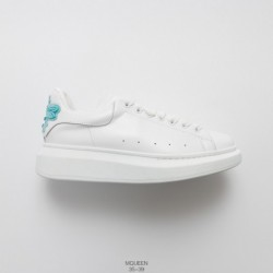 Womens, factory lacing, top-grain leather alexander mcqueen sole sneakers low fashion thick sleeve leisure shoe whole white blu