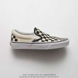 VN-0 Vulcanize Vans Slip On Black And White Checkerboard Slip-ons/loafers UNISEX Duck Shoe
