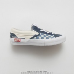 Tribute Ow X Nike Vans Deadstock Vans Vault Sk8-hi Cap LX Deconstruction High Duck Skate Shoes Blue White Blue Check Style Code
