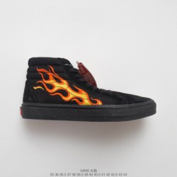 FSR UNISEX Xishan Che Is The Military Brand WTAPS X Vans Vault OG Sk8-hi LX Yellow Flame Classic High Duck Skate Shoes Flame Bl