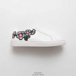 Factory lacing top-grain Leather Lana OZLANA Spring Korean Web Celebrity Embroidery Corium All-Match white shoes sting embroide