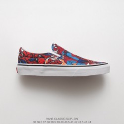 VN000EYEBWW FSR, Marvel Anime Character Crossover 2018 Marvel X Vans Spider-man Slip On Summer Duck Vulcanize Slip-Ons/Loafers
