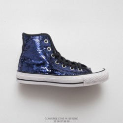817c At The Foot Of The Disco, Womens Converse Chuck Taylor All Star Sequin Hi Classic High Vulcanize Skate Shoes Sparkling Nav