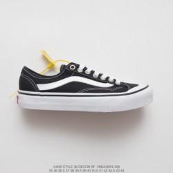 FSR, Overseas Limited Edition Vans Style 36 Decon SF Tasty Collection Duck Half Moon Toe Cap Vulcanize Skate Shoes Black And Wh