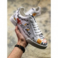 Mens, factory lacing, top-grain leather luxury dolce & gabbana dolce & gabbana 18 spring deadstock trends all-match skate shoes