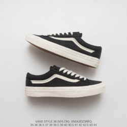 130 Asia Limited Edition Vans Vault OG Style 36 Classic Vintage Low Skate Shoes Short Nylon Cloth Black And White Style Code:VN