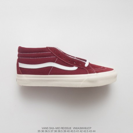 UNISEX, Dongguan Original Sole, Premium FSR Vans Sk8-mid Reissue Mid Duck Casual Skate Board Shoes Wine Red White Style Code:VN