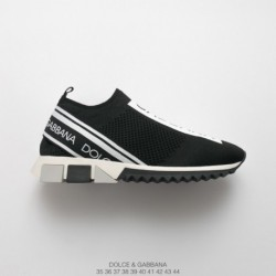 Dolce&gabbana/Dobbana 2018 spring/summer black and white letter socks shoes factory lacing knitting upper factory lacing packag