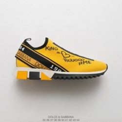 Global luxury brand, dolce & gabbana dolce & gabbana sorrento logo trainer sorrento collection knitting all-match Jogging Shoes