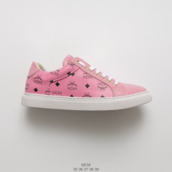 MCM Visetos Slip On Luxury Fashion Brand Launched Limited Edition Angel Visetos Angel Collection Pink Black Print Slip-ons/loaf