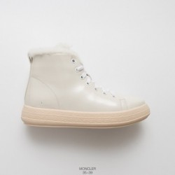 Moncler wool high warm cotton shoes upper with super soft and supple wrinkle patent leather tongue collar wool lining high dens