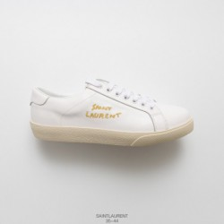 Upper Kid Skin, UNISEX Saint Laurent Paris French Luxury Saint Laurent Star The Same Style SLP Classic White Shoe